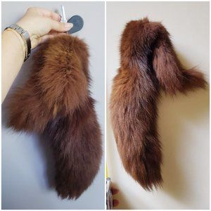 "vtg 70s 80s FOX TAIL fur foxtail KEYCHAIN 14"" long"